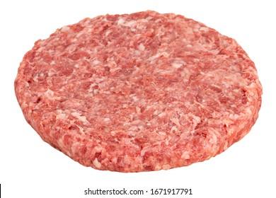 Raw fresh large beef burger isolated on white background.