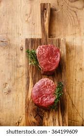 Raw fresh marbled meat Steak filet mignon on wooden background