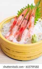 Raw and fresh shrimp sashimi - Japanese food style