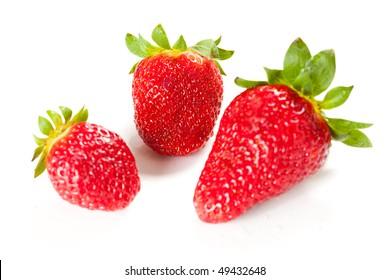 raw fresh strawberry isolated over white background
