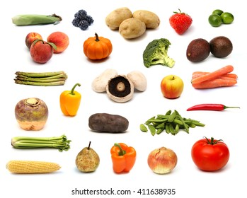 Raw Fruit and Vegetable Collage on a White Background