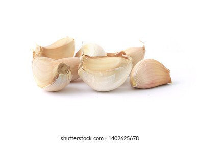 Raw garlic isolated on white background.