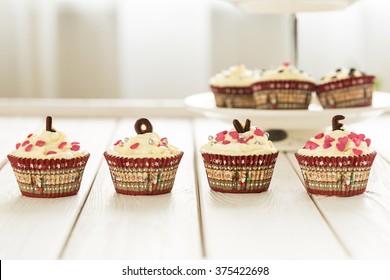 Raw Gluten-Free Valentine Day Cupcakes with Beautiful Decoration, Horizontal