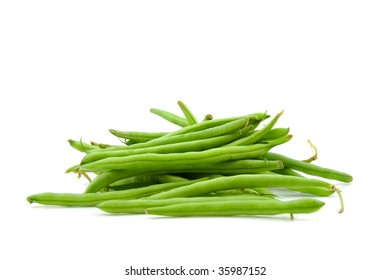 raw green beans vegetables isolated on white background
