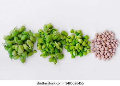 raw green fresh chickpeas and dried chickpeas. Heap of legume chickpea background. Top view. Free space for your text