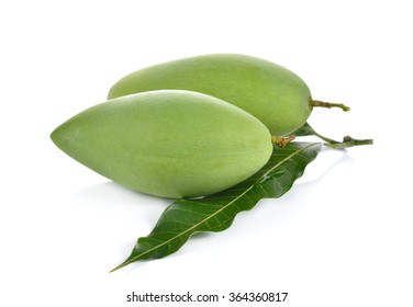 raw green mango with leaf on white background