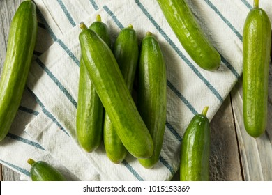 Raw Green Organic Persian Cucumbers in a Pile