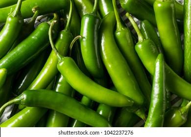 Raw Green Organic Serrano Peppers Ready to Use