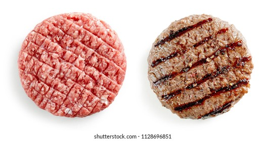 raw and grilled burger meat isolated on white background, top view