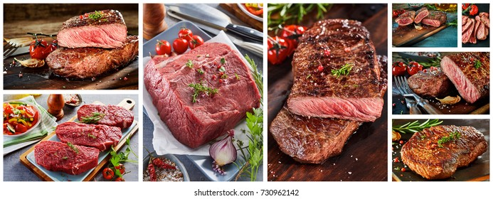 Raw and grilled steak panorama collage for a menu showing succulent raw and grilled rump steak and fillet steak seasoned with fresh herbs and spicy marinade