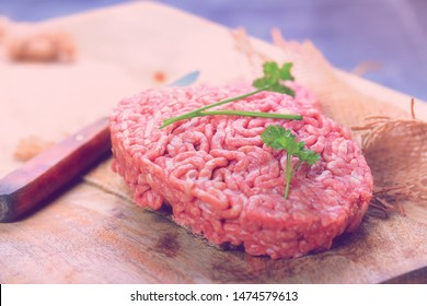 Raw ground beef and seasonings