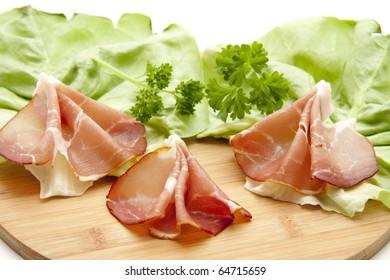 Raw ham with salad