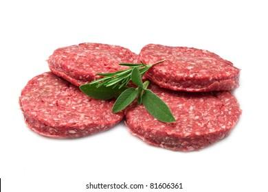 raw hamburger isolated on white background