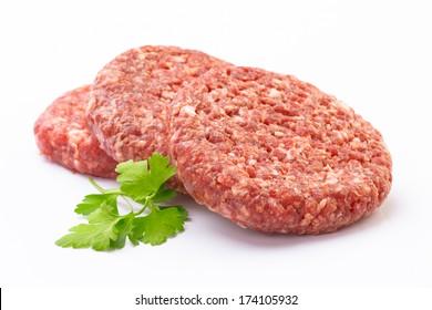 raw hamburger meat isolated on white
