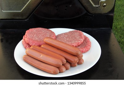 Raw Hamburgers and Hotdogs on a plate ready for the grill