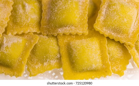 Raw handmade agnolotti, type of ravioli, typical Italian egg pasta from Piedmont, Italy