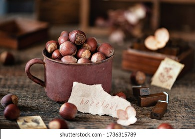 Raw hazelnuts in a metal Cup on a wooden background. Photo in rustic style. Selective focus, horizontal photo.