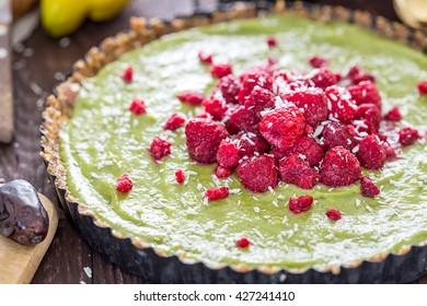 Raw Healthy Paleo Avocado Lemon Cake with Banana and Raspberries