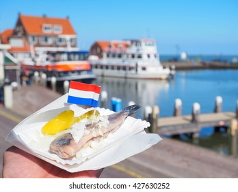 Raw herring traditional food in Netherlands