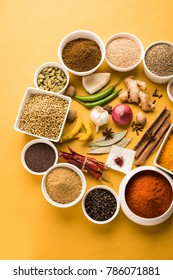 Raw Indian Spice Powder over yellow background, selective focus