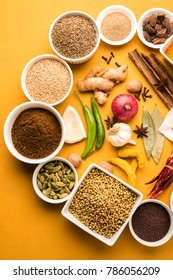 Raw Indian Spice Powder in white bowl over yellow background, selective focus