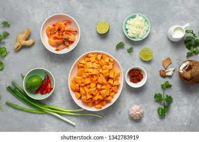 Raw ingredients for making sweet potato soup with shrimps top view