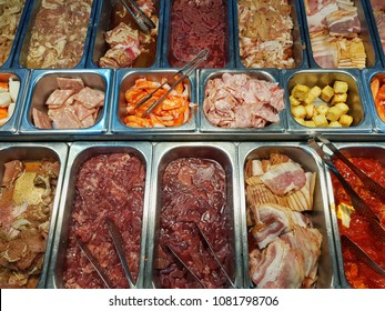 Raw ingredients for Thai barbecue BBQ ,fresh meat ,meet,chicken, pork , beef, fillet , fish , tofu,ham,lamp,motton , bacon, buffet street food