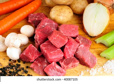 Raw Ingredients For A Traditional Beef Stew Recipe With Vegetables