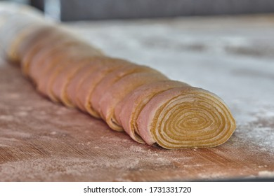 Raw Italian homemade tagliatelle pasta, made with eggs and flour