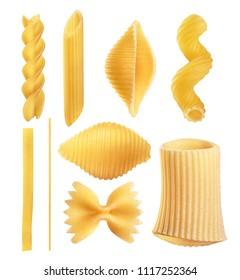 Raw Italian pasta fettuccine, amorini, paccheri, farfalle, spaghetti, fusilli, penne, conchiglie isolated on a white background. With clipping path.