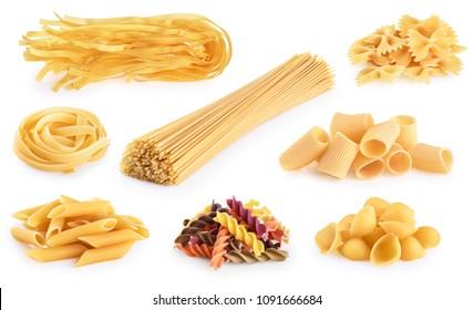 Raw Italian pasta fettuccine, paccheri, farfalle, spaghetti, fusilli, penne, tagliatelle, conchiglie isolated on a white background. With clipping path.