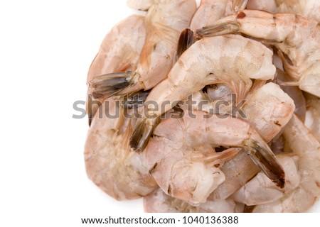 Raw Jumbo Shrimp On White Background Stock Photo Edit Now