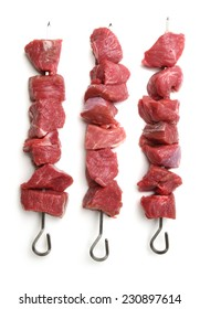 Raw lamb meat kebabs ready for the bbq