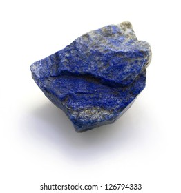 Raw lapis lazuli stone isolated on a white background.