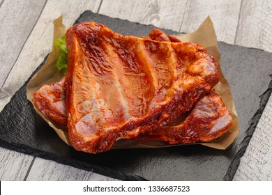 Raw marinated pork ribs ready for cooking