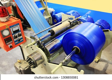 The raw material for plastic bag production.The plastic bag manufacturing process.