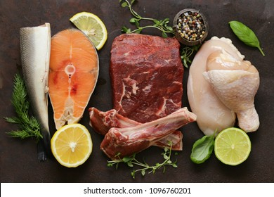 raw meat, fish and chicken healthy food