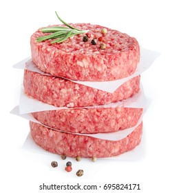 raw meat for making  burger isolated on white