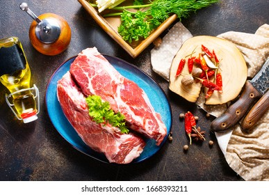 raw meat, meat on plate, meat with spice