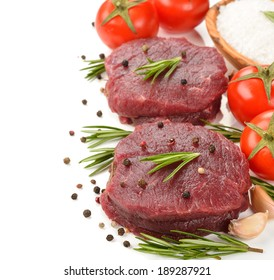 Raw meat on a  white background