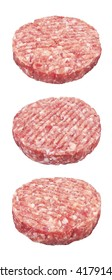 Raw meat patty, isolated on white