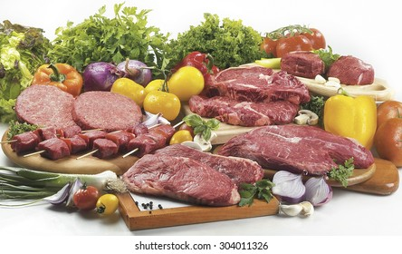raw meats and vegetables
