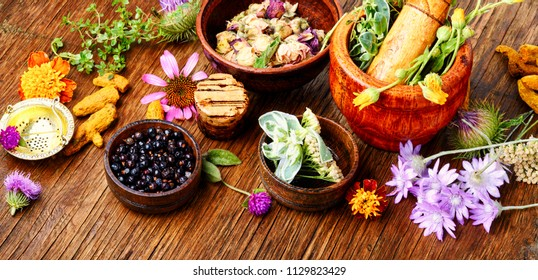 Raw medical herbs and flowers.Alternative medicine concept.Herbal medicine.Assorted natural medical herbs