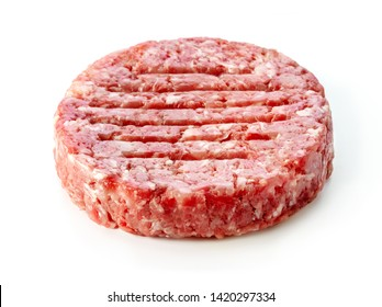 raw minced beef cutlet meat for burger isolated on white background