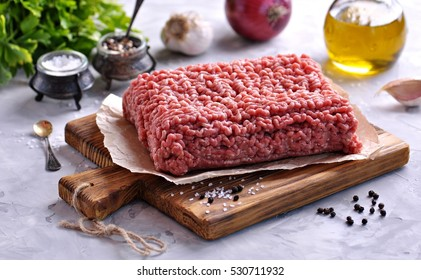 Raw Minced beef on a cutting board.