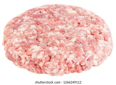 Raw minced ground beef or pork ready for cooking isolated on white background.
