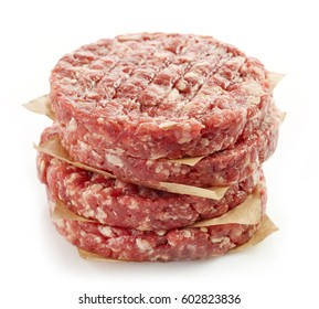 raw minced meat for making a burger isolated on white background