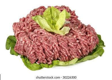 Raw minced meat with salad leaves