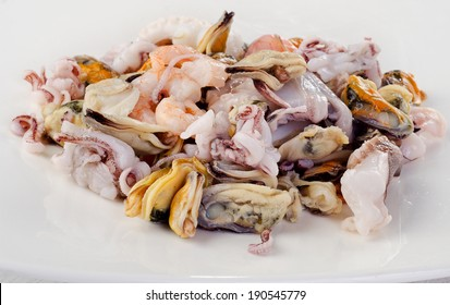 Raw Mixed seafood on a white plate. Selective focus