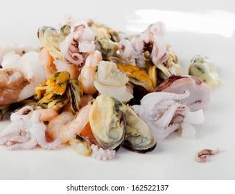 Raw Mixed seafood. Selective focus